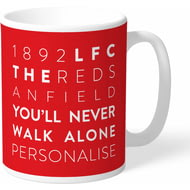 Personalised Liverpool FC Word Collage Mug