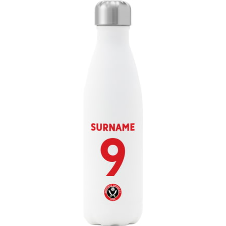 Personalised Sheffield United FC Back Of Shirt Insulated Water Bottle - White