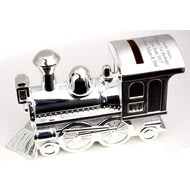 Personalised Engraved Silver Train Moneybox