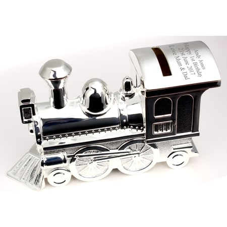 Personalised Silver Train Moneybox