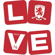 Personalised Middlesbrough Love Coasters (x4)