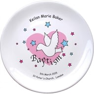 "Personalised Dove & Hearts Pink Baptism 8"" Coupe Plate"