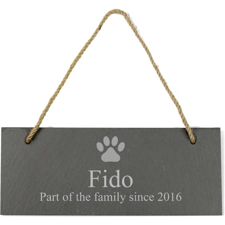 Personalised Dog Paw Print Hanging Slate Plaque/Sign