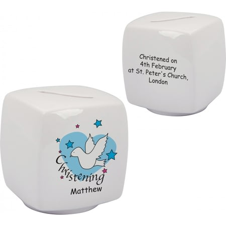 Personalised Dove & Hearts Blue Christening Bone China Moneybox