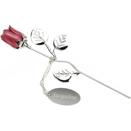 Personalised Engraved Silver Plated Pink Rose - 18cm