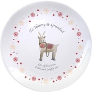 "Personalised Reindeer & Snowflake 8"" Bone China Coupe Plate"