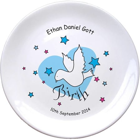 "Personalised Dove & Hearts Blue Birth 8"" Bone China Coupe Plate"