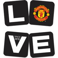 Personalised Manchester United Love Coasters (x4)
