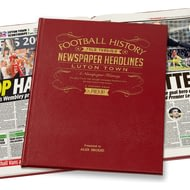 Personalised Luton Town Football Newspaper History Book - Leather Cover