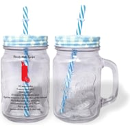 Personalised Cocktail Recipe Blue Lidded Mason Jar