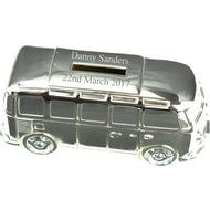 Personalised Engraved Silver Campervan Money Box