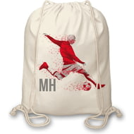 Personalised Footballer Drawstring Bag