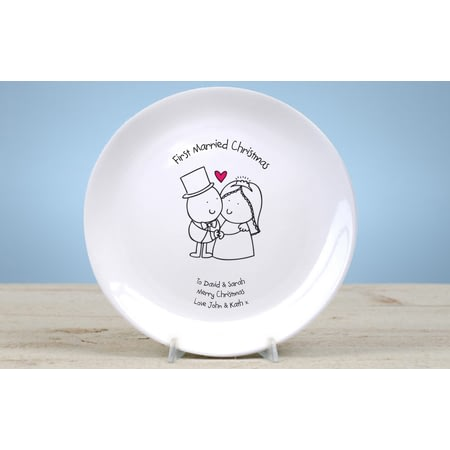 Personalised Chilli & Bubble's First Married Christmas Plate