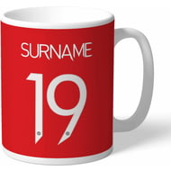 Personalised Manchester United FC Back Of Shirt Mug