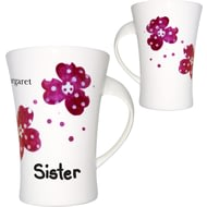 Personalised Pink Pansies Sister Twist Handle Ceramic Mug