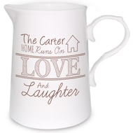 Personalised Love And Laughter Farmhouse Jug