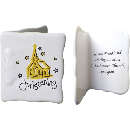 Personalised Church Christening Bone China Message Card