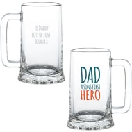 Personalised First Hero Pint Glass Stern Tankard
