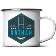 Personalised Blue Rugby Enamel Metal Mug