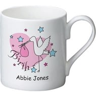 Personalised Stork Pink Birth Ceramic Mug