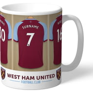 Personalised West Ham United FC Dressing Room Shirts Mug
