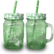Personalised Gin-gle All The Way Green Mason Jar