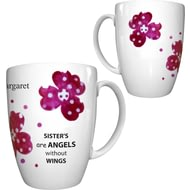 Personalised Pink Pansies Sister Conic Ceramic Mug
