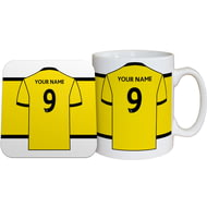 Personalised Watford FC Shirt Mug & Coaster Set
