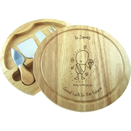 Personalised Chilli & Bubble's Leaving Round Cheeseboard With Knives