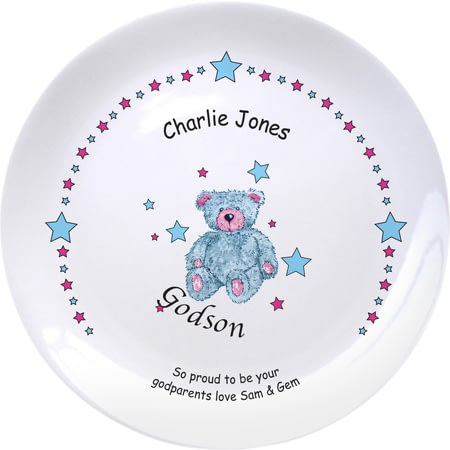 "Personalised Teddy & Stars Blue Godson 8"" Plate"