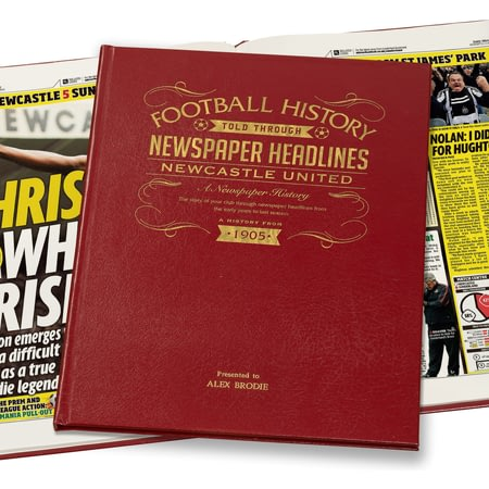 Personalised Newcastle United Football Newspaper Book - Leather Cover