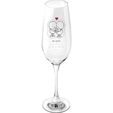 Personalised Chilli & Bubbles New Baby Glass Champagne Flute