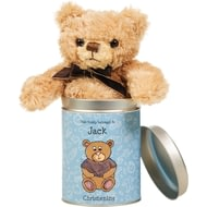 Personalised Christening Teddy In A Tin-for Boys