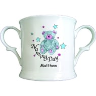 Personalised Teddy & Stars Blue Naming Day China Loving Cup