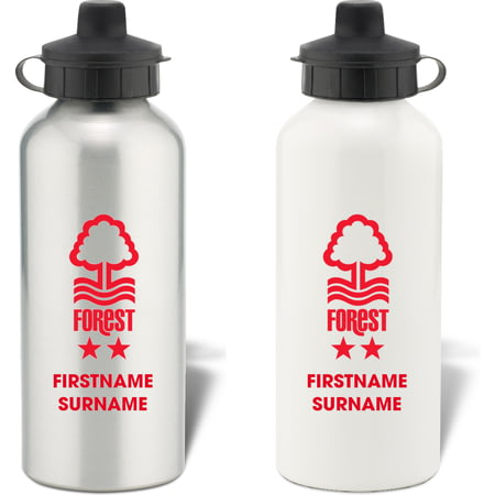 Personalised Nottingham Forest Bold Crest Aluminium Sports Water Bottle