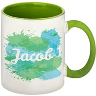 Personalised Splash Green Ceramic Mug