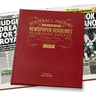 Personalised Plymouth Football History Newspaper Book - Leather Cover
