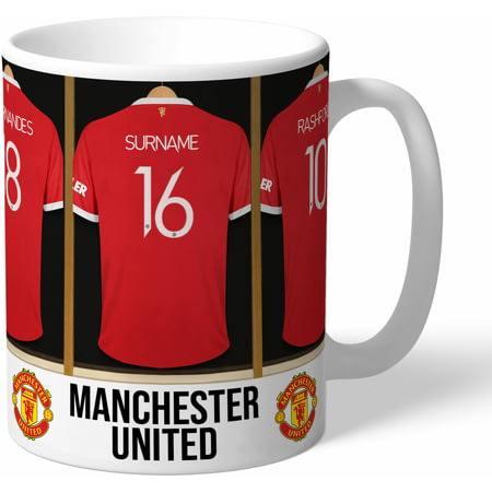 Personalised Manchester United FC Dressing Room Shirts Mug