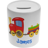 Personalised Boys Train Ceramic Money Box