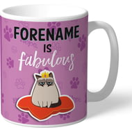 Personalised Grumpy Cat Emoji - Fabulous Mug Pink