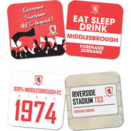 Personalised Middlesbrough FC Coasters