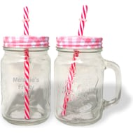 Personalised Red Mason Jar With Straw