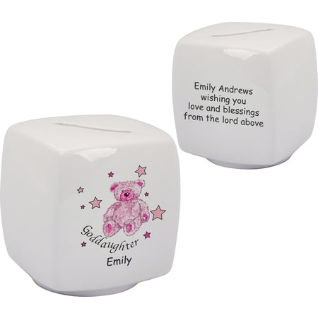 Personalised Teddy & Stars Pink Goddaughter Bone China Moneybox