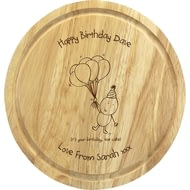 Personalised Chilli & Bubble's Birthday Round Chopping Board