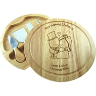Personalised Chilli & Bubble's Married Christmas Round Cheeseboard With Knives