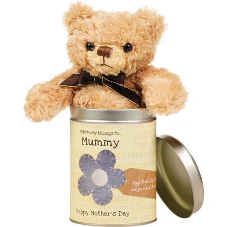 Personalised Mother's Day Teddy In A Tin - Words