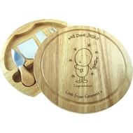 Personalised Chilli & Bubble's Congratulations Round Cheeseboard With Knives