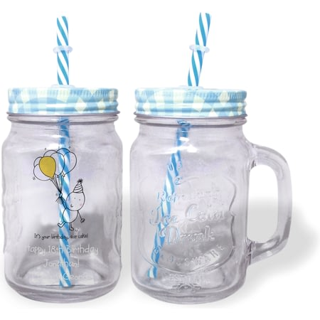 Personalised Chilli & Bubbles Birthday Blue Lid Mason Jar