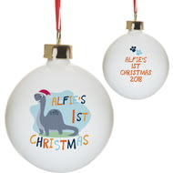 Personalised Dinosaur 1st Christmas Christmas Tree Ceramic Bauble