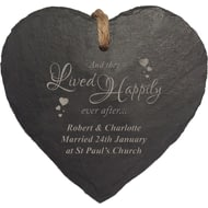 Personalised Happily Ever After Heart Slate Hanging Sign